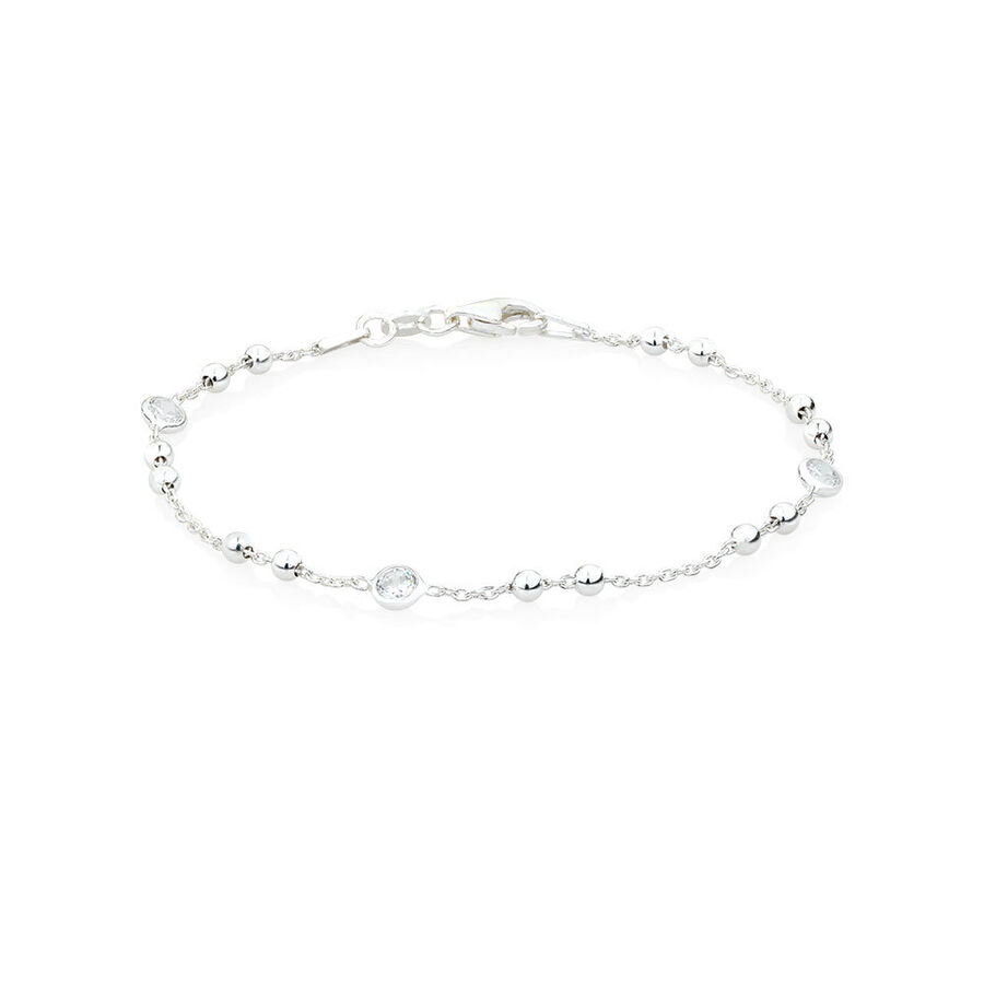 Ball Bracelet with Cubic Zirconia in Sterling Silver