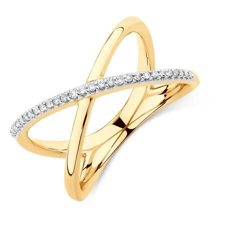 Geometric Ring with Diamonds in 10ct Yellow Gold