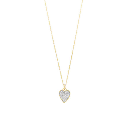 Heart Pave Pendant with 0.17 Carat TW of Diamonds in 10ct Yellow Gold