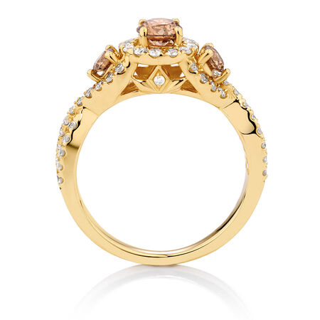 Three Stone Engagement Ring with 1.23 Carat TW of Champagne & White Diamonds in 14ct Yellow Gold