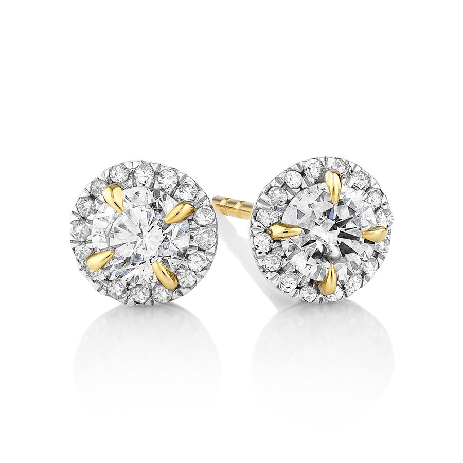 Halo Earrings with 0.50 Carat TW of Diamonds in 10ct Yellow Gold