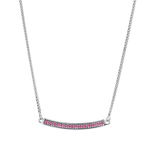 Adjustable Bar Necklace with Pink Cubic Zirconia in Sterling Silver
