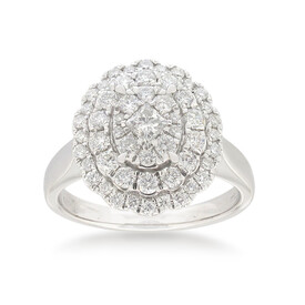 Halo Ring with 1.00 Carat TW of Diamonds in 14ct White Gold