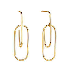 Double Oval Hoop Earrings In 10ct Yellow Gold