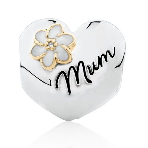 """Diamond Set """"Mum"""" Heart Charm with Enamel in 10ct Yellow Gold & Sterling Silver"""
