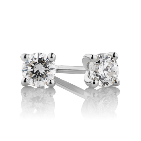 Stud Earrings with 0.33 Carat TW of Diamonds in 10ct White Gold