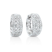 Fancy Huggie Earrings with 0.34 Carat TW of Diamonds in 10ct White Gold