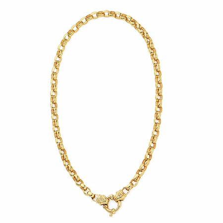 "45cm (18"") Diamond Set Solid Belcher Chain in 10ct Yellow Gold"