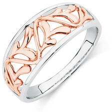 Filigree Ring in 10ct White & Rose Gold