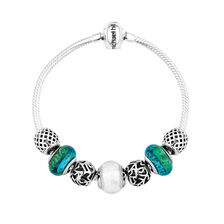 Green Glass & Sterling Silver Charm Bracelet