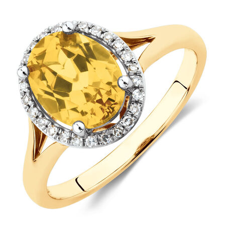 Ring with Created Yellow Sapphire & Diamonds in 10ct Yellow Gold