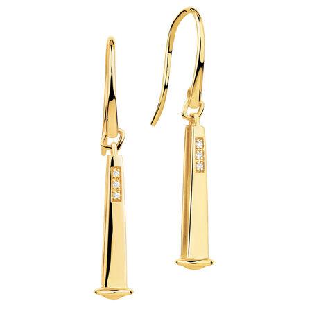 Diamond Set 10ct Yellow Gold 26mm Charm Drop Earrings