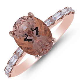 Ring with Morganite & 0.25 Carat TW of Diamonds in 10ct Rose Gold