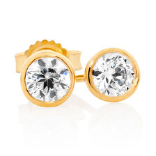 Stud Earrings with Cubic Zirconia in 10ct Yellow Gold