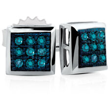 Stud Earrings with Enhanced Blue Diamonds in Sterling Silver
