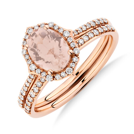 Bridal Set with 0.30 Carat TW of Diamonds & Morganite in 14ct Rose Gold