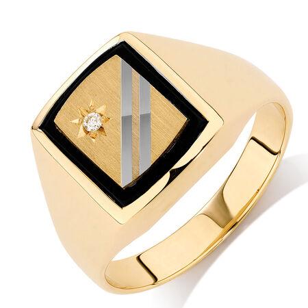 Men's Diamond Set Ring with Black Onyx in 10ct Yellow & White Gold