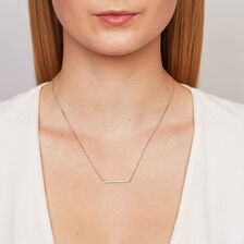 Geometric Bar Necklace with Diamonds in Sterling Silver