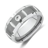 Diamond Set Ring in Grey Tungsten