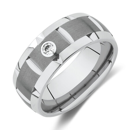 Diamond Set Ring in Grey Tungsten