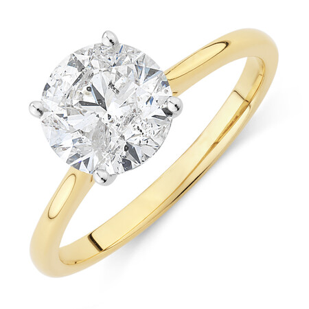 Evermore Certified Solitaire Engagement Ring with 2 Carat TW Diamond in 14ct Yellow & White Gold