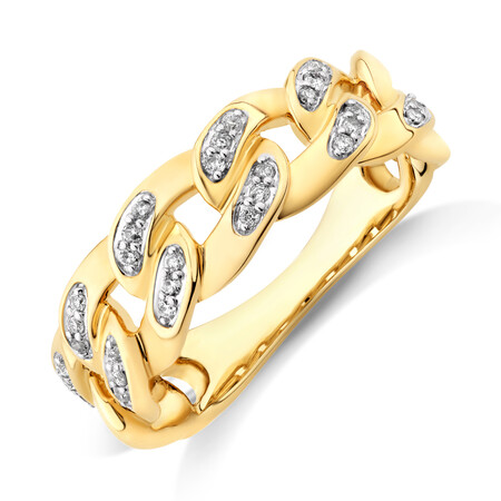 Link Ring with 0.15 Carat TW of Diamonds in 10ct Yellow Gold