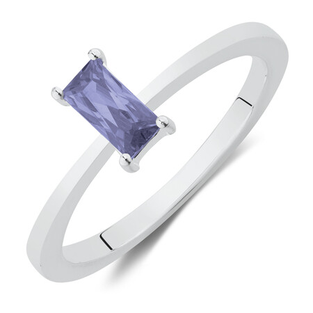 Ring with Created Lavender Gemstone in Sterling Silver