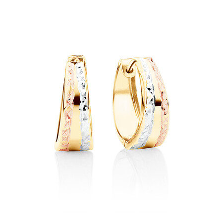 V Shaped Huggie Earrings In 10ct Yellow, Rose and White Gold