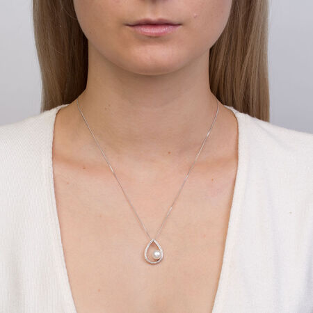 Pendant with Cultured Freshwater Pearl & 0.15 Carat TW of Diamonds in Sterling Silver