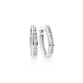 Oval Huggie Earrings with 0.25 Carat TW of Diamonds in 10ct White Gold