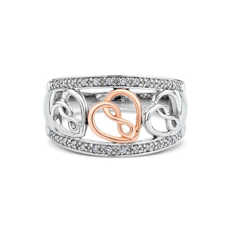 Infinitas Ring with Diamonds in 10ct Rose Gold & Sterling Silver