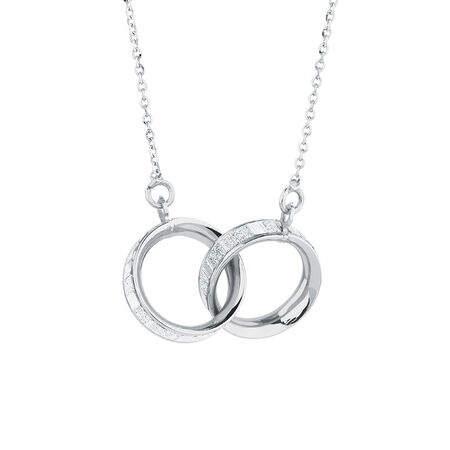 Glitter Linked Circles Necklace in Sterling Silver
