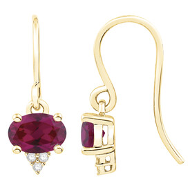 Earrings with Created Ruby & Diamond in 10ct Yellow Gold