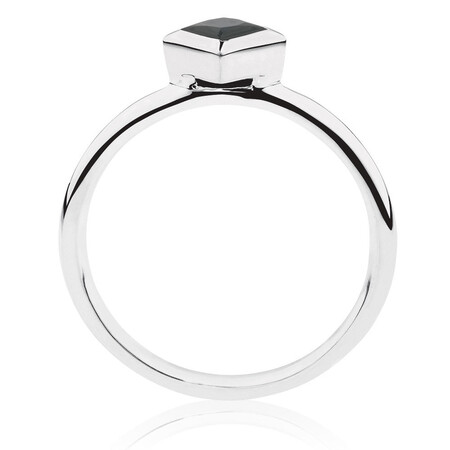 Square Stacker Ring with Black Cubic Zirconia in Sterling Silver