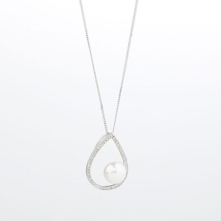 Online Exclusive - Pendant with Diamonds & Cultured Freshwater Pearl in Sterling Silver