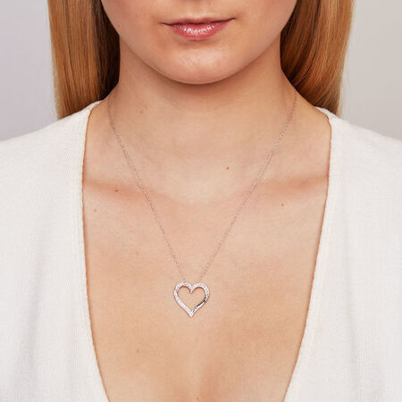 Heart Pendant with a 1/4 Carat TW of Diamonds in 10ct White Gold