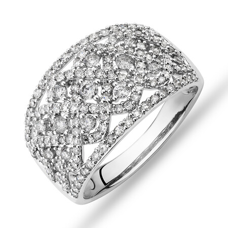 Diamond Cluster Ring with 1.00 Carat TW of Diamonds in 10ct White Gold