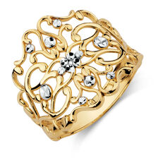Filigree Ring in 10ct Yellow & White Gold