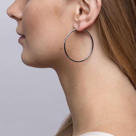 40mm Patterned Hoop Earrings in Sterling Silver