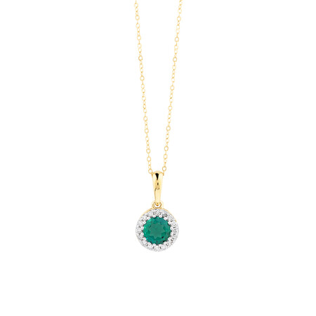Halo Pendant With Diamonds And Created Emerald In 10ct Yellow Gold
