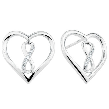 Infinitas Stud Earrings with Diamonds in Sterling Silver
