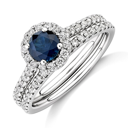 Halo Bridal Set with Sapphire & 0.54 Carat TW of Diamonds in 14ct White Gold
