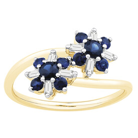 Ring with Sapphire & Diamond in 10ct Yellow Gold