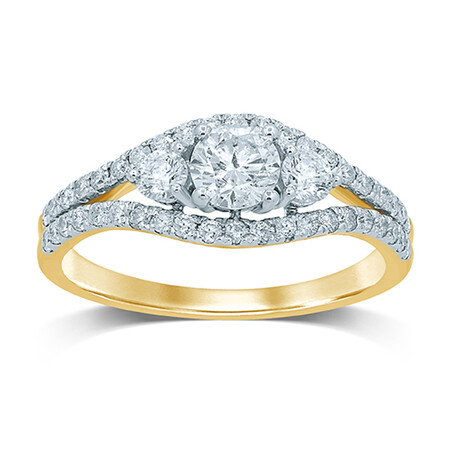 3 Stone Ring with 1.00 Carat TW of Diamonds in 14ct Yellow & White Gold
