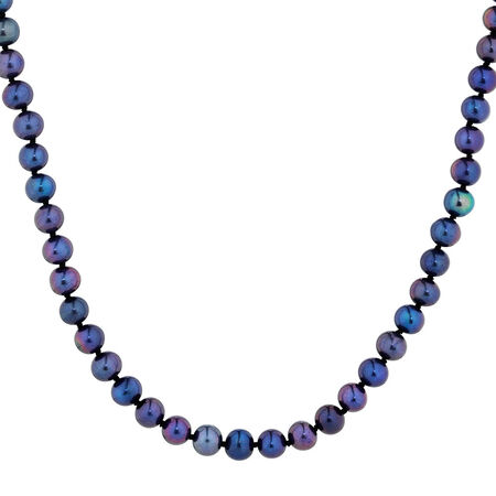 """45cm (18"""") Necklace with Black Cultured Freshwater Pearls in 10ct Yellow Gold"""