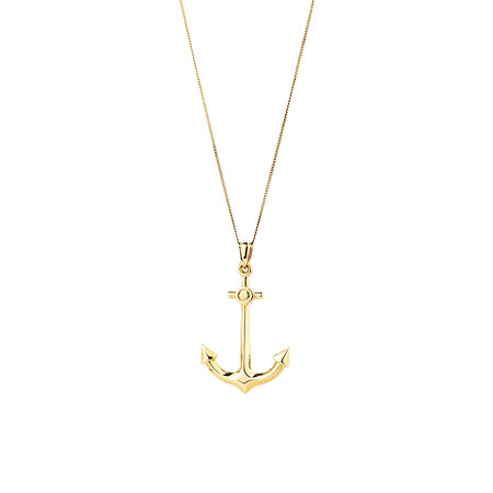 Hollow Anchor Pendant in 10ct Yellow Gold