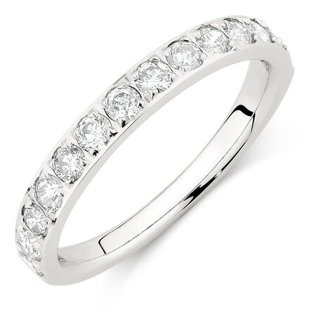 Wedding Band with 3/4 Carat TW of Diamonds in 14ct White Gold