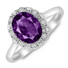 Ring with Amethyst & Diamond in 10ct White Gold