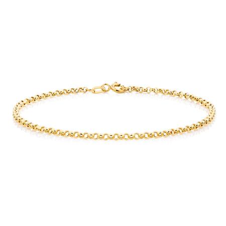 "17cm (7"") Hollow Belcher Bracelet in 10ct Yellow Gold"