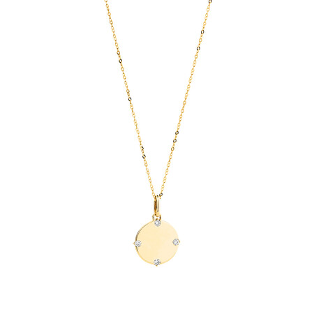 Compass Pendant & Chain with Diamonds in 10ct Yellow Gold